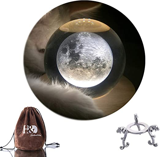 H&D HYALINE & DORA - Bola de Cristal con Soporte de Metal (2,8 ...