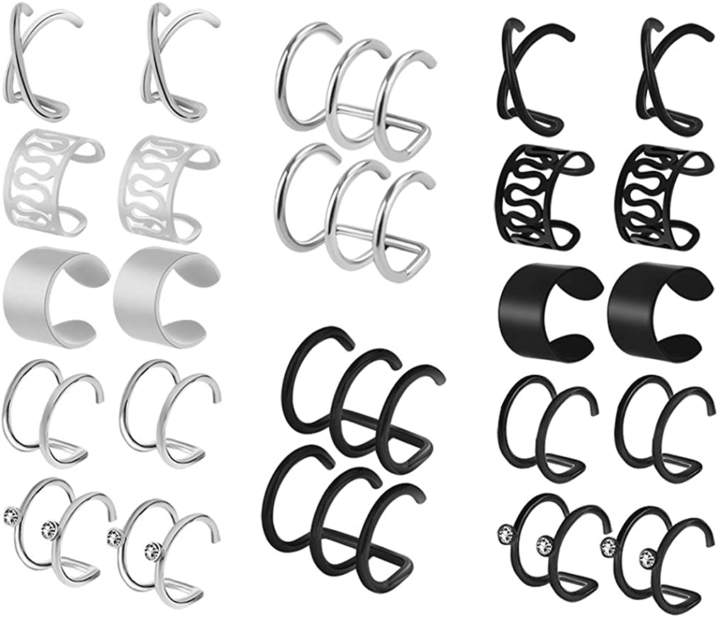 HOVEOX 12 Pairs Earrings Set Cuff Helix Cartilage Clip Stainless Steel on Ears Non Piercing Adjustable 6 Various Styles Silver and Black for Women Girls