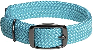 product image for Mendota Pet Double Braid Collar - Black Metallic - Dog Collar - Made in The USA - Turquoise , 1 in x 24 in Standard