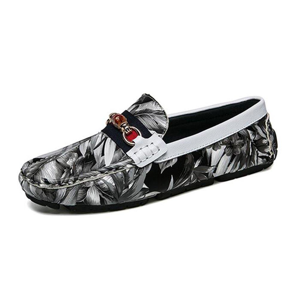Zapatos De Cuero Dermis Men Flower Comfort Soft Silp-On Moda Casual Sailing Driving Shoes 40 EU|Gray