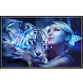 Amazon Yeefant Beauty Girl And Tiger Live Action Embroidery