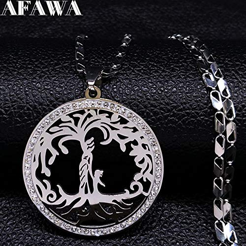 Davitu Family Tree of Life Crystal Stainless Steel Necklace Women Silver Color Chains Necklaces Mom Kids Jewelry Femme Collier N18520