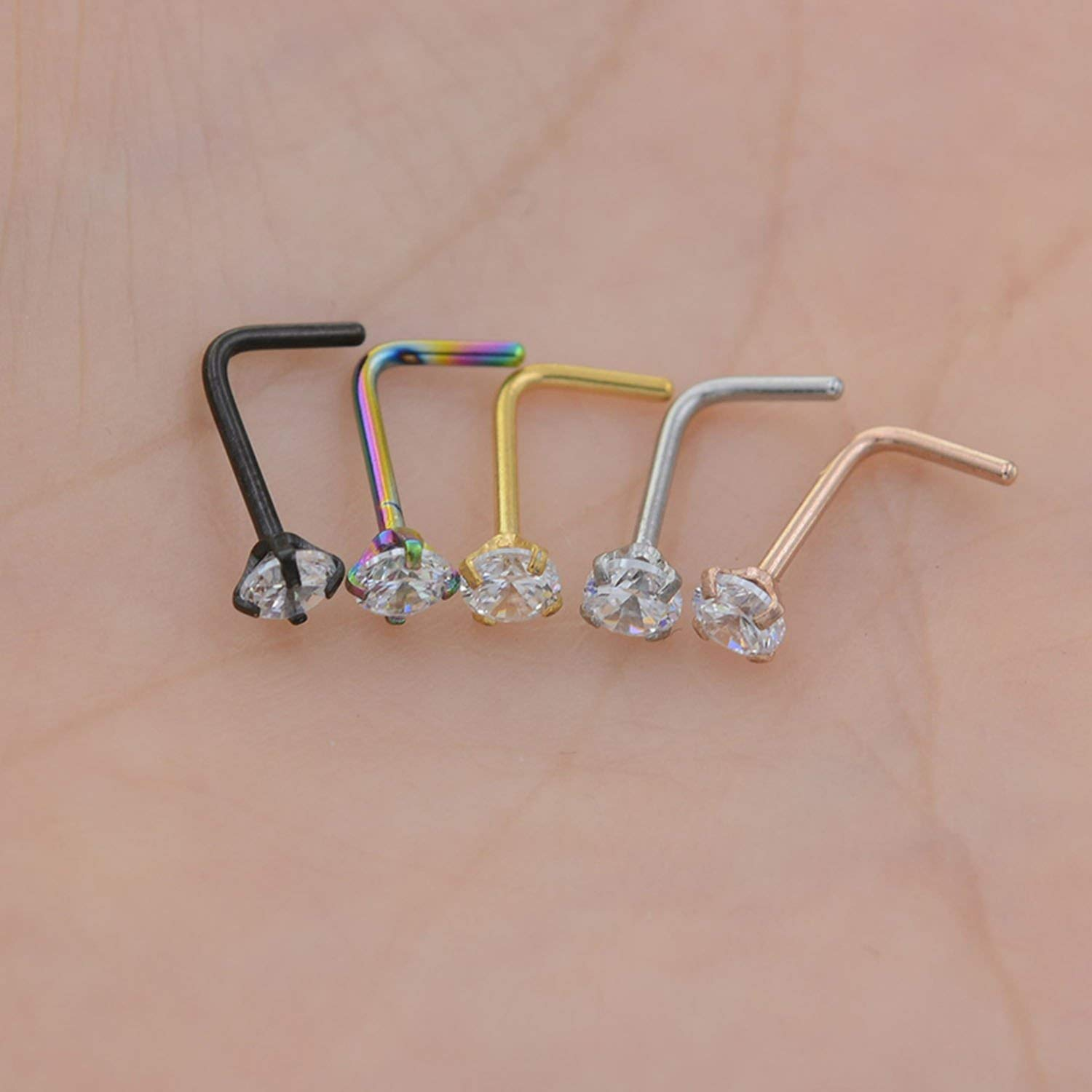 A-Hha 1Pc 20G Zircon Nose Stud Steptum Nose Studs Hooks Bar Pin Nose Rings Body Piercing Stainless Steel Jewellery,Silver Twist Shape,2Mm Gem Stone