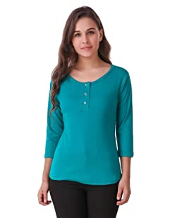 Q-rious Women's Plain Regular fit T-Shirt (Q-101-Tshirt-RAMAGREEN_Sea Green_Large)