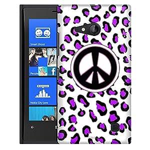 Nokia Lumia 730 Case, Slim Fit Snap On Cover by Trek Peace Purple Leopard Case