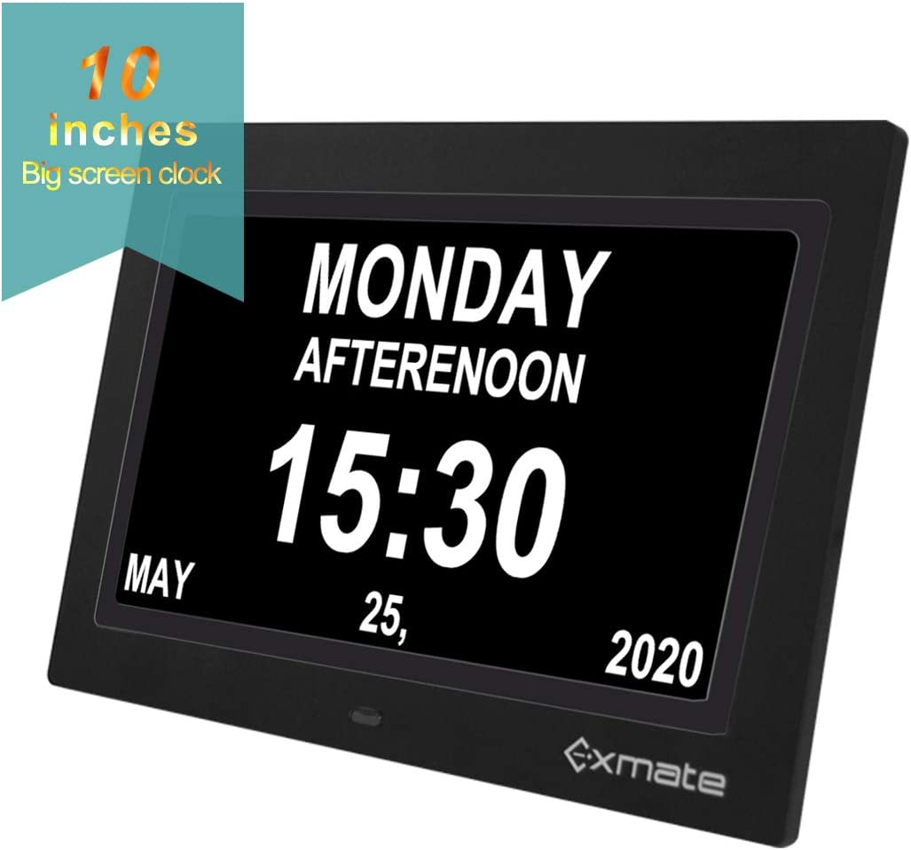 Exmate Day Clock Calendar, 10 Extra Large Non-Abbreviated Screen Display, AM PM, with 13 Alarm Options, Snooze Function, Adjustable Brightness, for Elderly, Visual Impairment, Dementia, Memory Loss