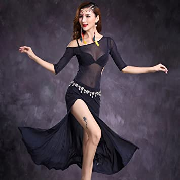 Femmes Danse Ventre Tango Pratique Jupe Robe Professionnel Jeu jS5R4L3Acq