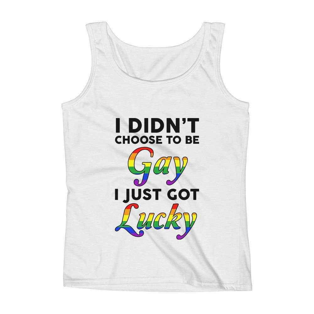 Mad Over Shirts I Didnt Choose to Be Gay I Just Got Lucky Unisex Premium Tank Top