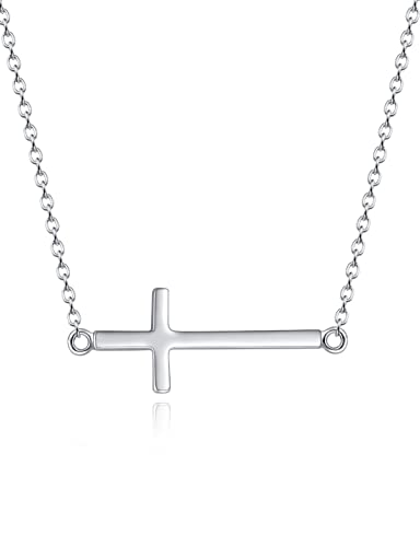 Goddaughter Gifts From Godmother Sideways Cross Necklace Religious Gift Sterling Silver Valentines Day Birthday For
