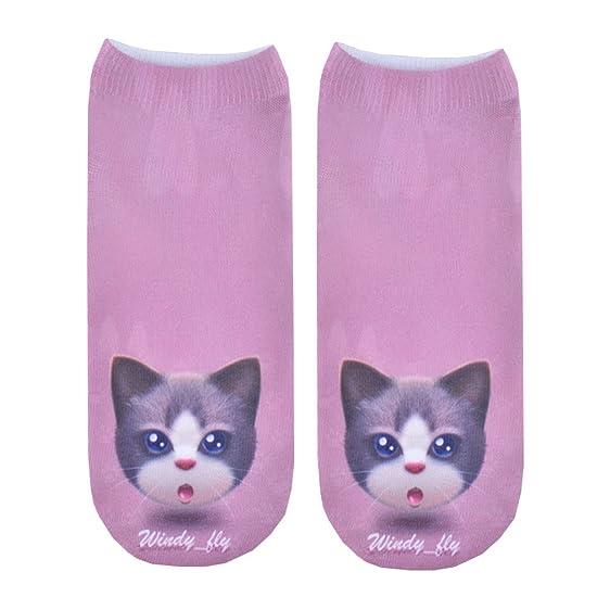 3D Print Socks Face Cat 100% Clear Printing Casual Cute Charactor Women Men