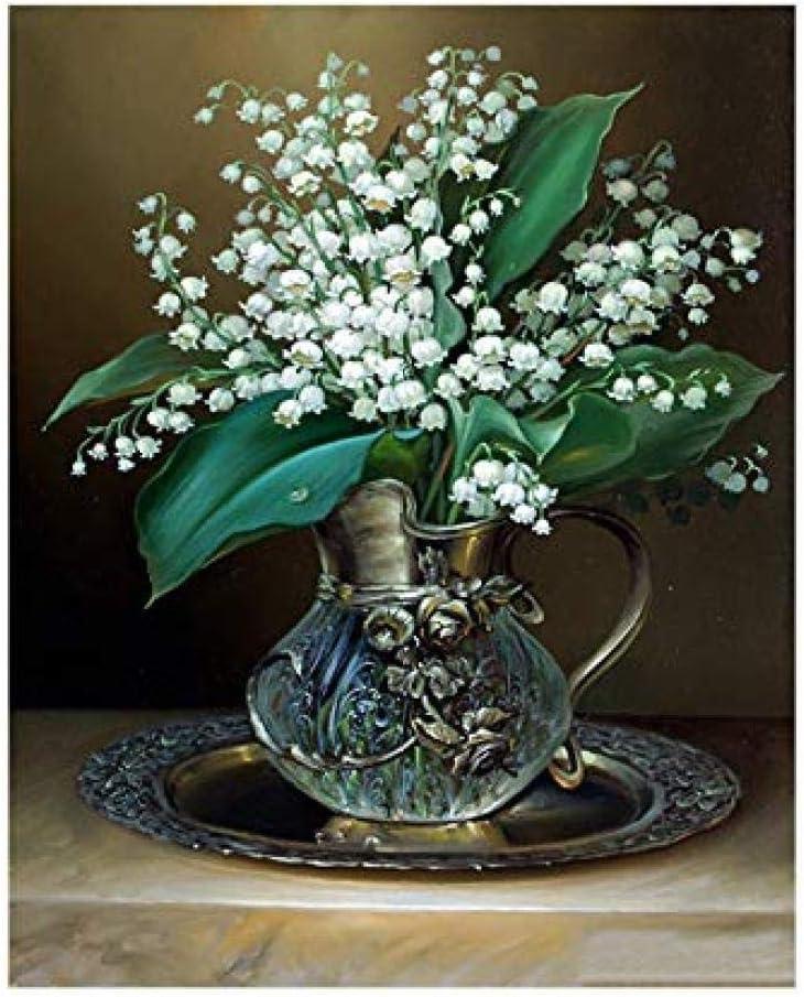 wnuia Pintura Al Óleo por Números DIY Pintado A Mano Flor Blanca Botella De Cristal Lienzo Pintura Sala De Estar Arte De La Pared Decoración del Hogar Regalo 40X50 Cm