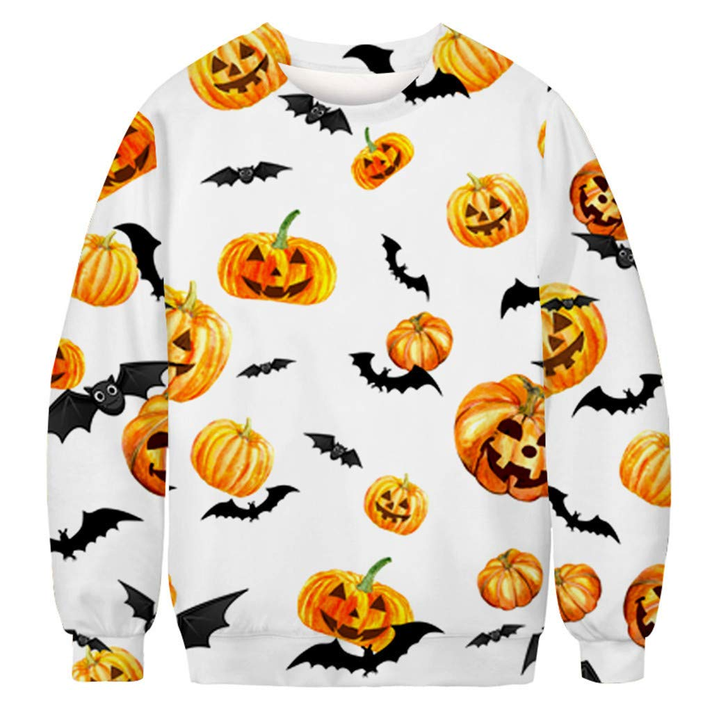 charmsamx Mens Crewneck Sweatshirt Halloween Pumpkin Printed Skull Sweatshirt Pullover Sweatshirts White, XXXL by charmsamx