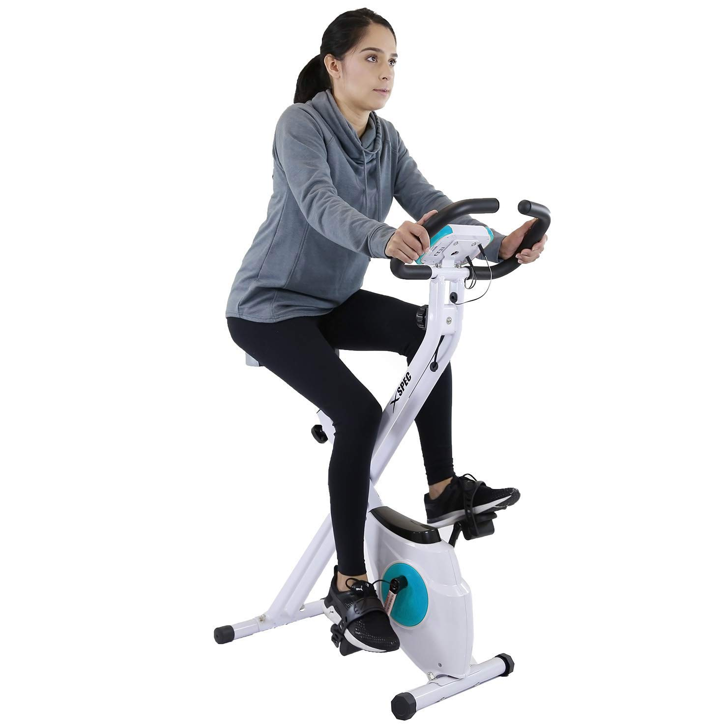 Xspec Indoor Foldable Stationary Upright Cardio Workout Exercise Cycling Bike w Heart Rate 8-Level Magnetic Resistance LCD Monitor w Phone Tablet Holder