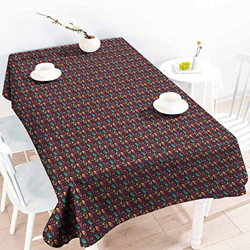 Willsd Rectangular Tablecloth,Abstract Seasonal Pattern with Leaves and Nuts Autumn Nature Themed Classical,Table Cover for Kitchen Dinning Tabletop Decoratio,W50x80L Plum Jade Green Orange