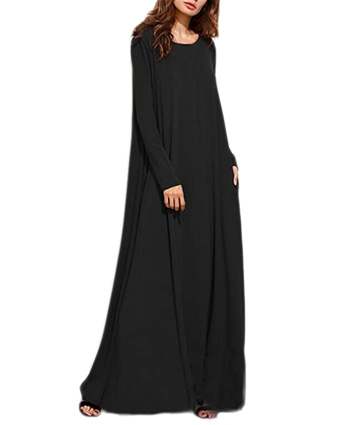 97ee01b5bc Kidsform Women Maxi Dress Long Sleeve Casual Loose Kaftan Party Long Dresses  with Pockets at Amazon Women's Clothing store: