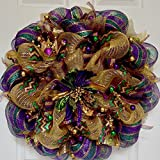 Mardi Gras Wreath Floral Deco Mesh With Kings Crown