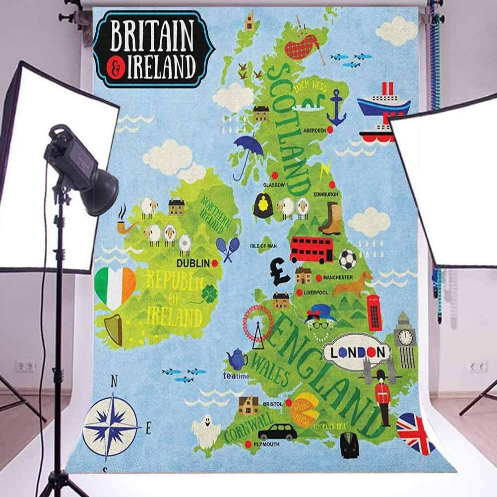 7x10 FT Wanderlust Vinyl Photography Background Backdrops,Cartoon Maps of Britain and Ireland Children Landmarks Illustration Background for Selfie Birthday Party Pictures Photo Booth Shoot