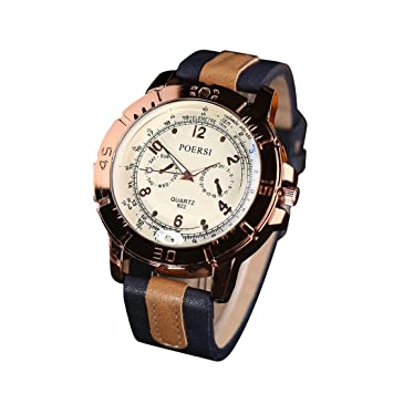 Relojes para Hombre, Winkey Relojes de Lujo Hombre Analógico Cuarzo Cuero Deporte Reloj de Pulsera Relojes de Negocios azul marino: Amazon.es: Hogar