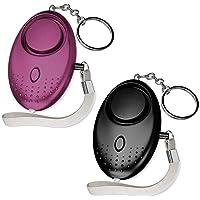 2 stuks 140 dB persoonlijk zakalarm vrouwen alarm met zaklamp sleutelhanger, paniekalarm zelfverdediging sirene voor…