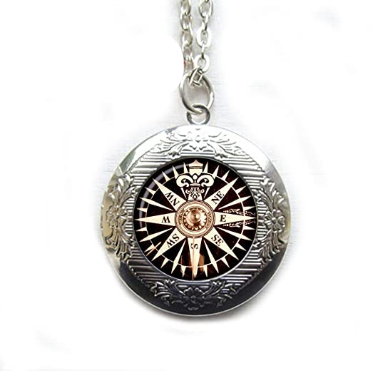 Old Compass Locket Necklace Rose Wind Vintage Jewelry