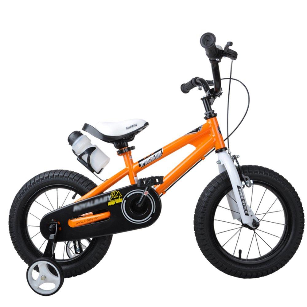HAIZHEN マウンテンバイク 子供用自転車 ブルーグリーンオレンジレッドピンク サイズ12インチ、14インチ、16インチ、18インチ アウトドアアウト 新生児 B07C6WQBKS 14 inch|オレンジ オレンジ 14 inch