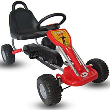 Kiddo by Raygar - Kart de pedales para niños (asiento ajustable, ruedas de goma para niños de 3 a 6 años), color rojo: Amazon.es: Juguetes y juegos