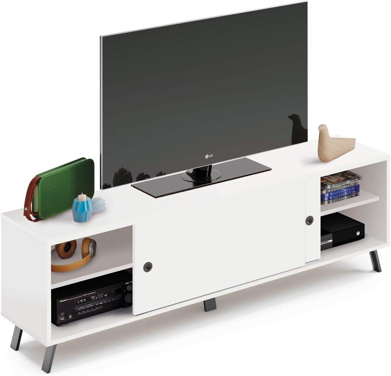 Pitarch Mesa TV Blanca Estilo Moderna 2 Puertas correderas 1 Estante salón Comedor Kamet Mueble 52x160x40 cm