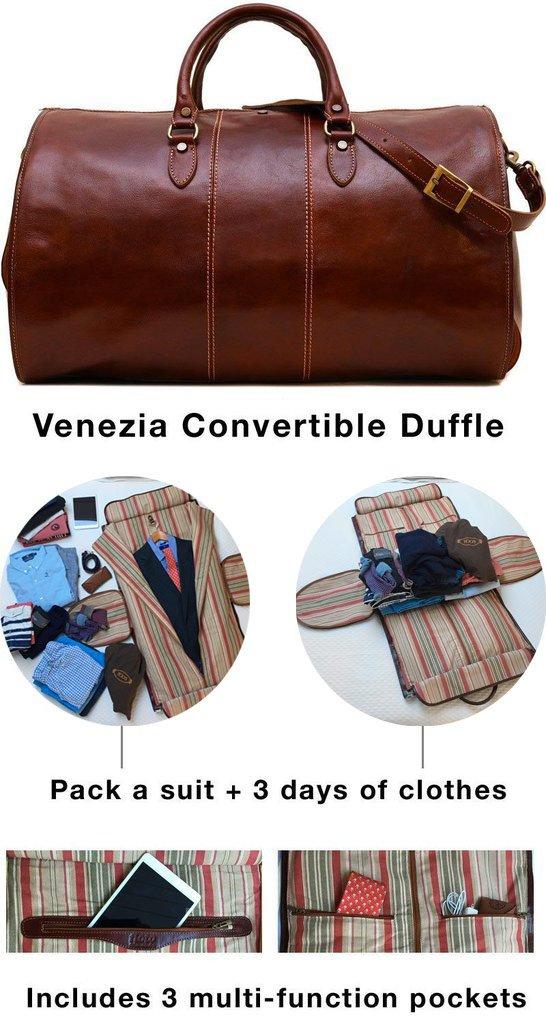 Venezia Garment Duffle Travel Bag Suitcase in Brown Full Grain Leather by Floto