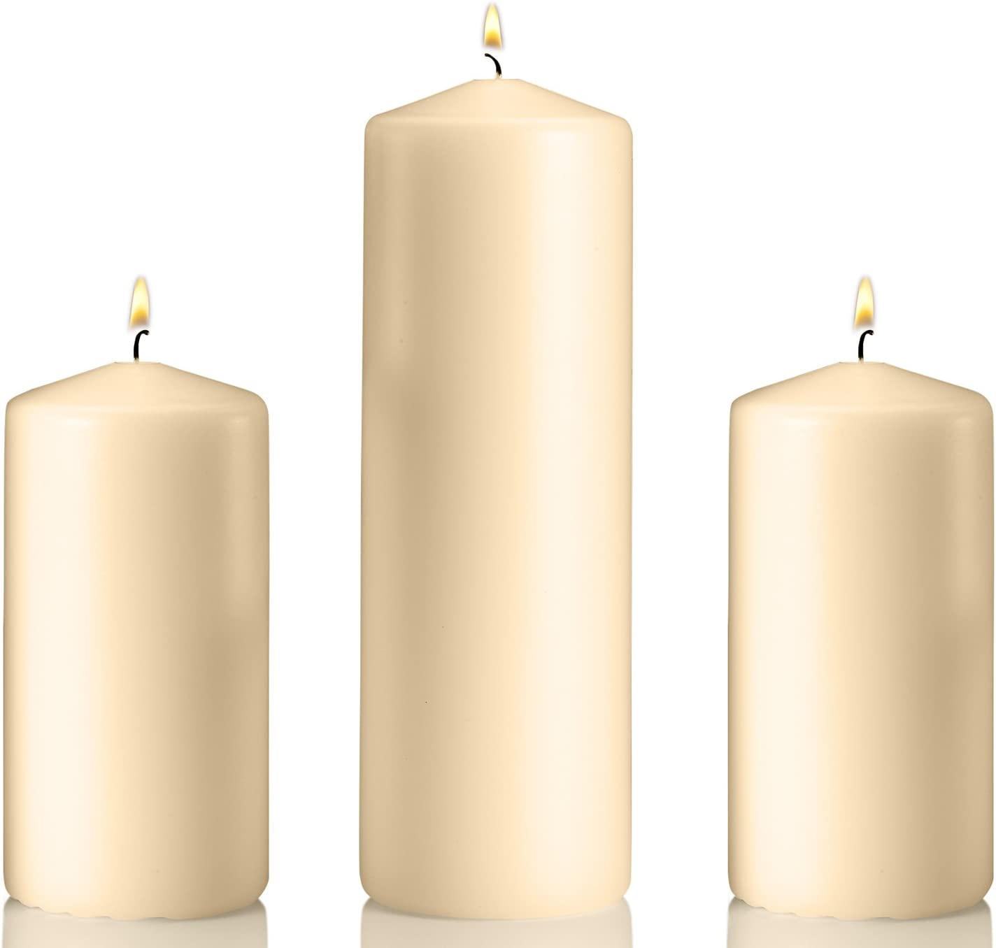 Set of 3 Unscented Pillar Candles – 2 Candles 3x6 Inch and 1 Candle 3x9 Inch, – Extra Long Burn Time – Ideal for Wedding, Restaurants, Spa, Hotels, Home Decor. (Vanilla)