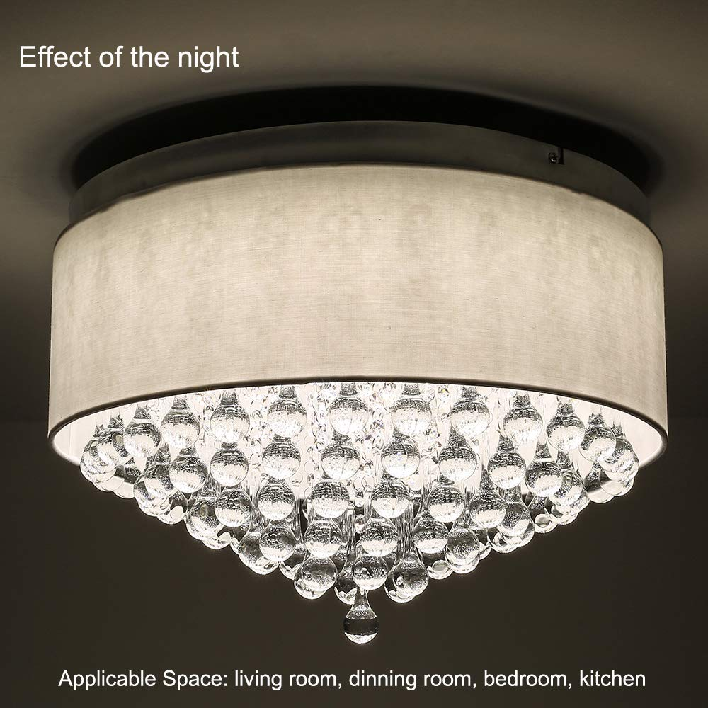 Horisun Modern Crystal Pendant Light with Cylinder Shade 2640LM Dimmable LED Flush Mount Lighting Drum Style Ceilignt Light for Dining Room, Bedroom, Living Room, ETL Listed