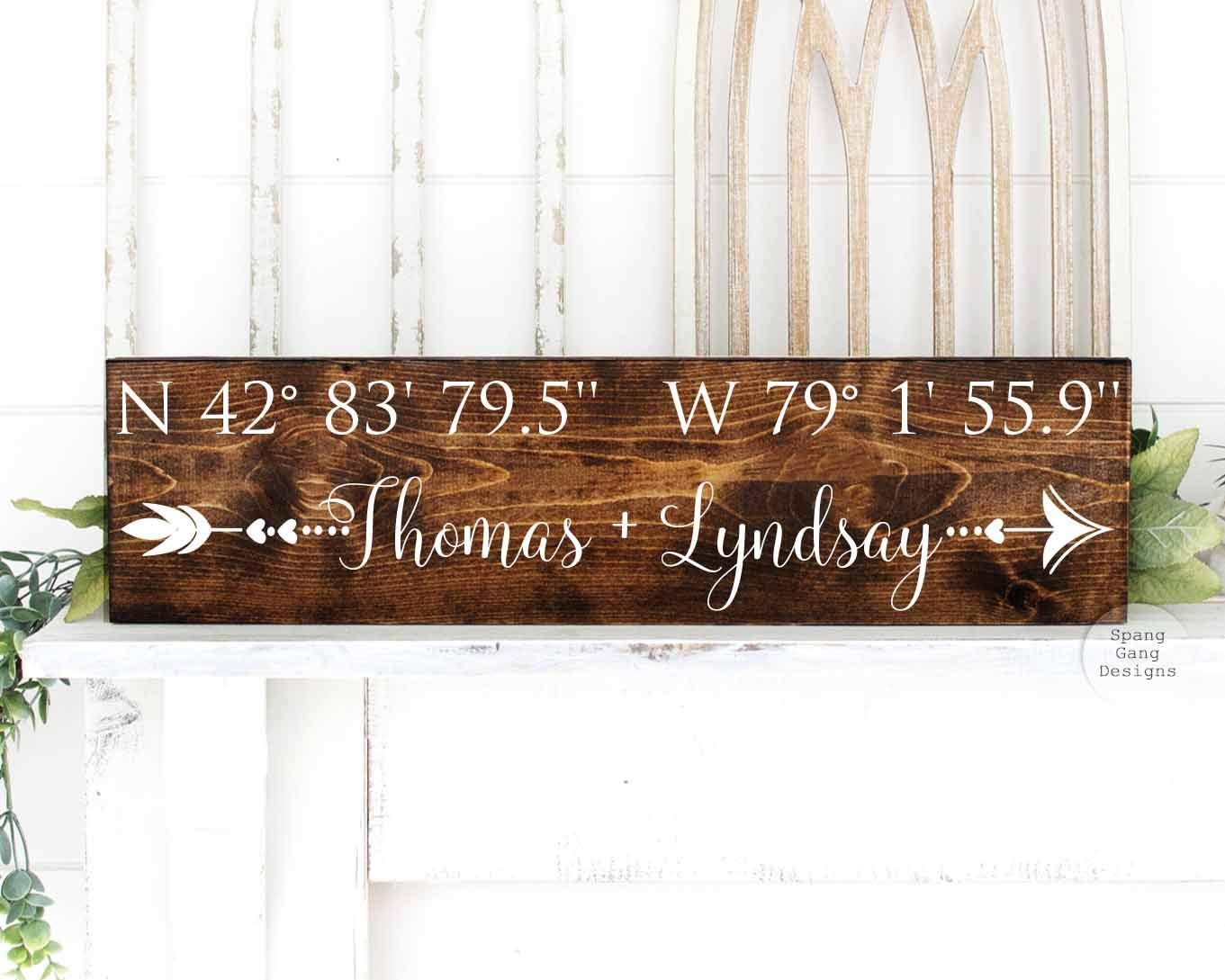 Custom Coordinates Sign with Latitude Longitude and Location Painted on Wood