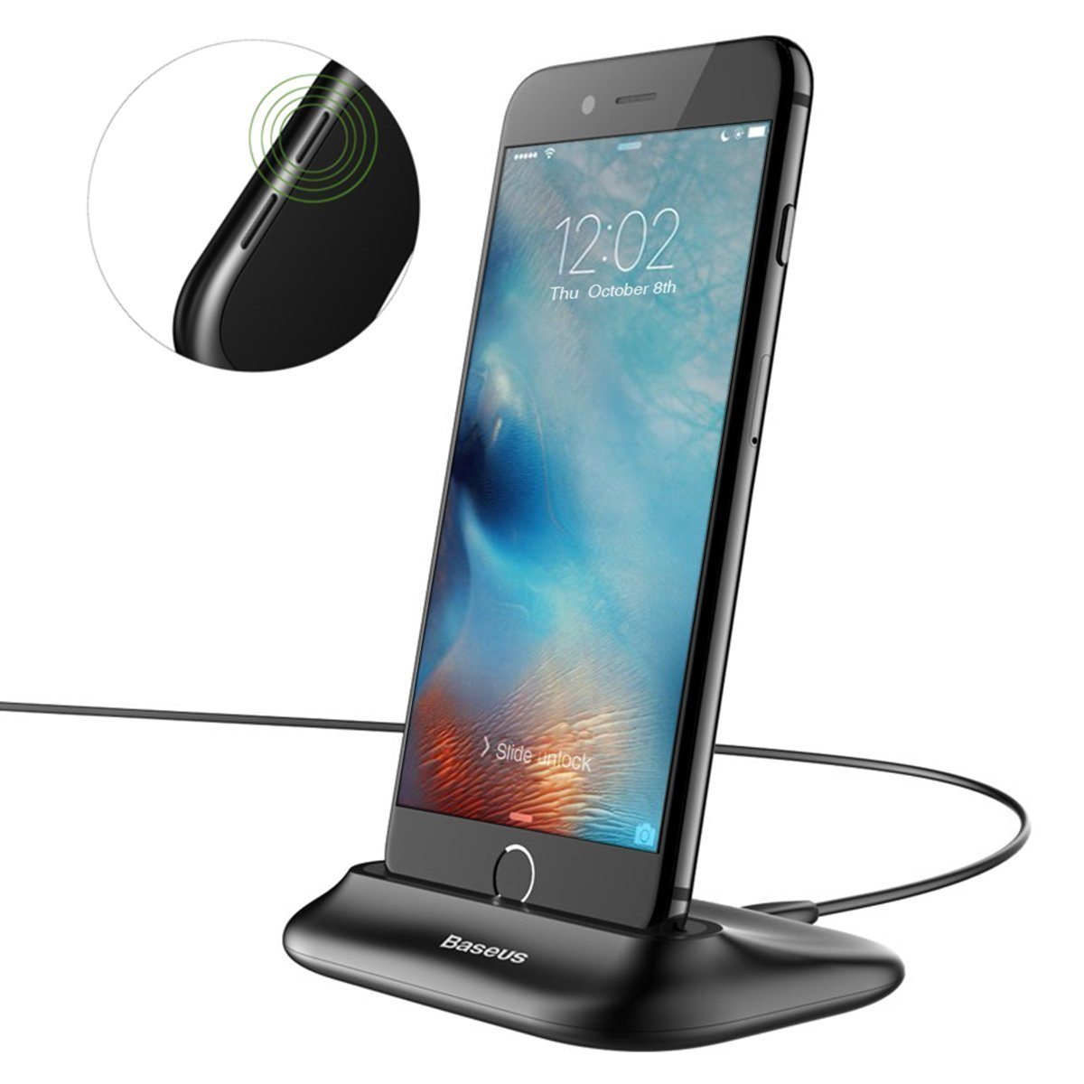 iPhone Charging Stand, Hizek Charging Dock Charger Stand Cradle Smartphone Holder for iPhone iPhone X/8/8Plus/7/7 Plus/6s/6/5/SE(Black)