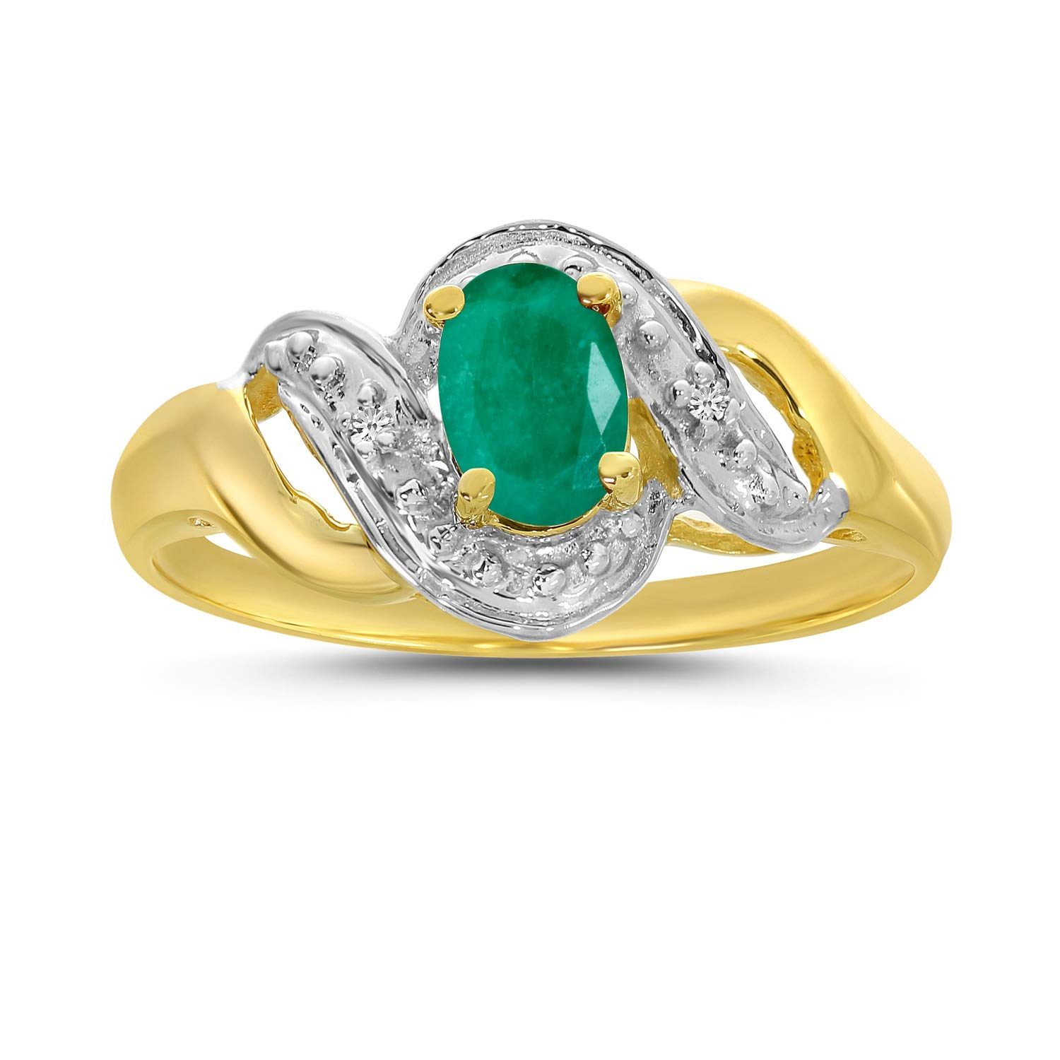 10k Yellow Gold Oval Emerald And Diamond Swirl Ring (Size 6.5) by Direct-Jewelry