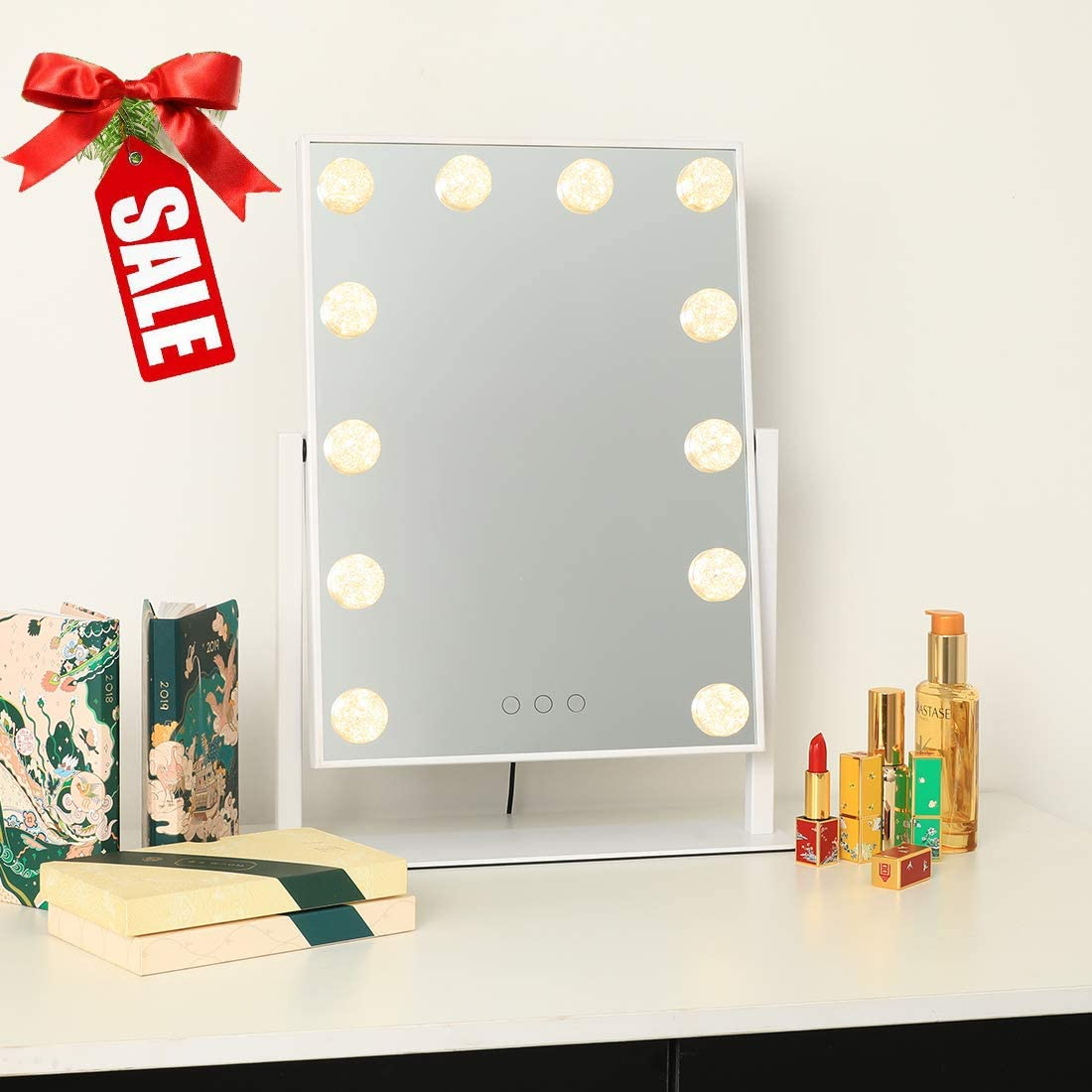 ICREAT Makeup Mirror with Lights, Hollywood Vanity Mirror, 360 Rotation Cosmetic Mirror, 3 Color Modes Lighted Mirror, Touch Screen Mirror with 12 Dimmable Bulbs, White