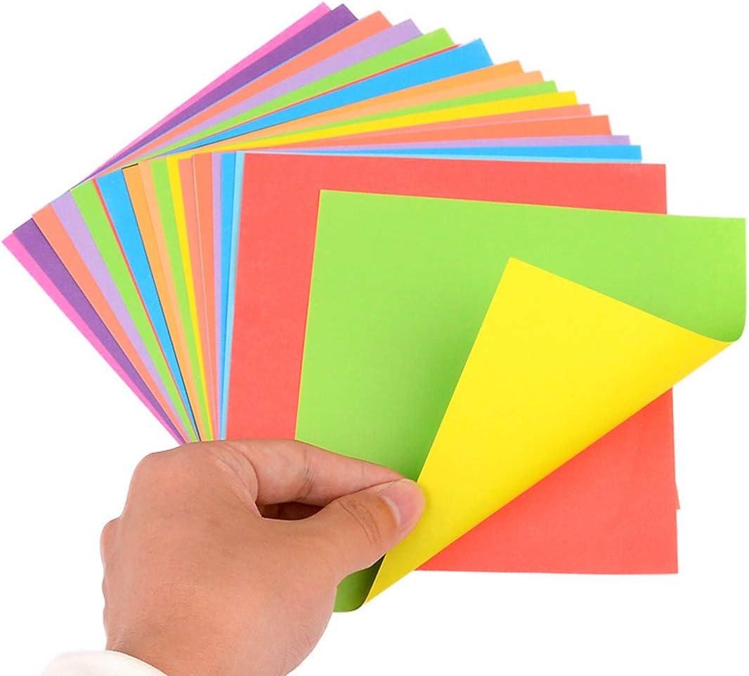 Jixin4you 70gsm Papier Origami Uni 15x15cm Carr/é Bricolage Artisanat Cr/éation Color/é 2 C/ôt/és