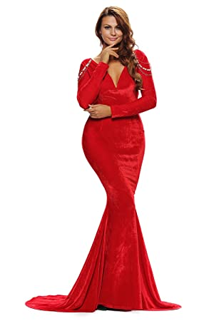 New ladies Red Velvet Long Sleeve Evening dress prom dress cocktail dress party wear gown size