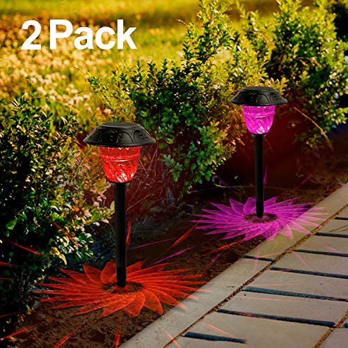 Solar Lights Outdoor 7 Color Changing Solar Pathway Lights LED Landscape Lights Waterproof Aluminium Alloy Solar Garden Decorations Colorful Lamp for Yard Lawn Patio Walkway (2 Pack)