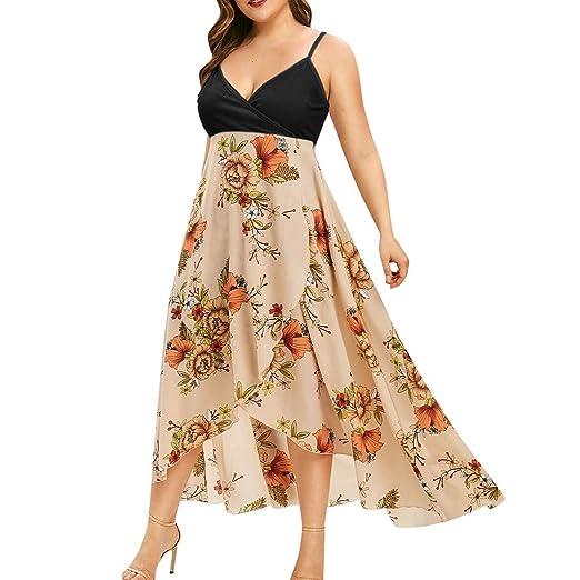 SGMORE Women\'s Sleeveless Plus Size Dresses,V-Neck Casual Bohemia Print  Swing Dress Sling Backless Dress
