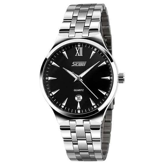 Reloj analógico,Reloj acero inoxidable correa calendario clásico calendario ventana cuarzo resistente al agua reloj