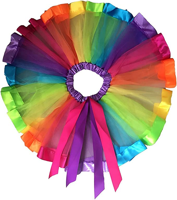 11 opinioni per Pixnor ragazze Layered Rainbow tutu gonna vestito da ballo Ruffle Tiered