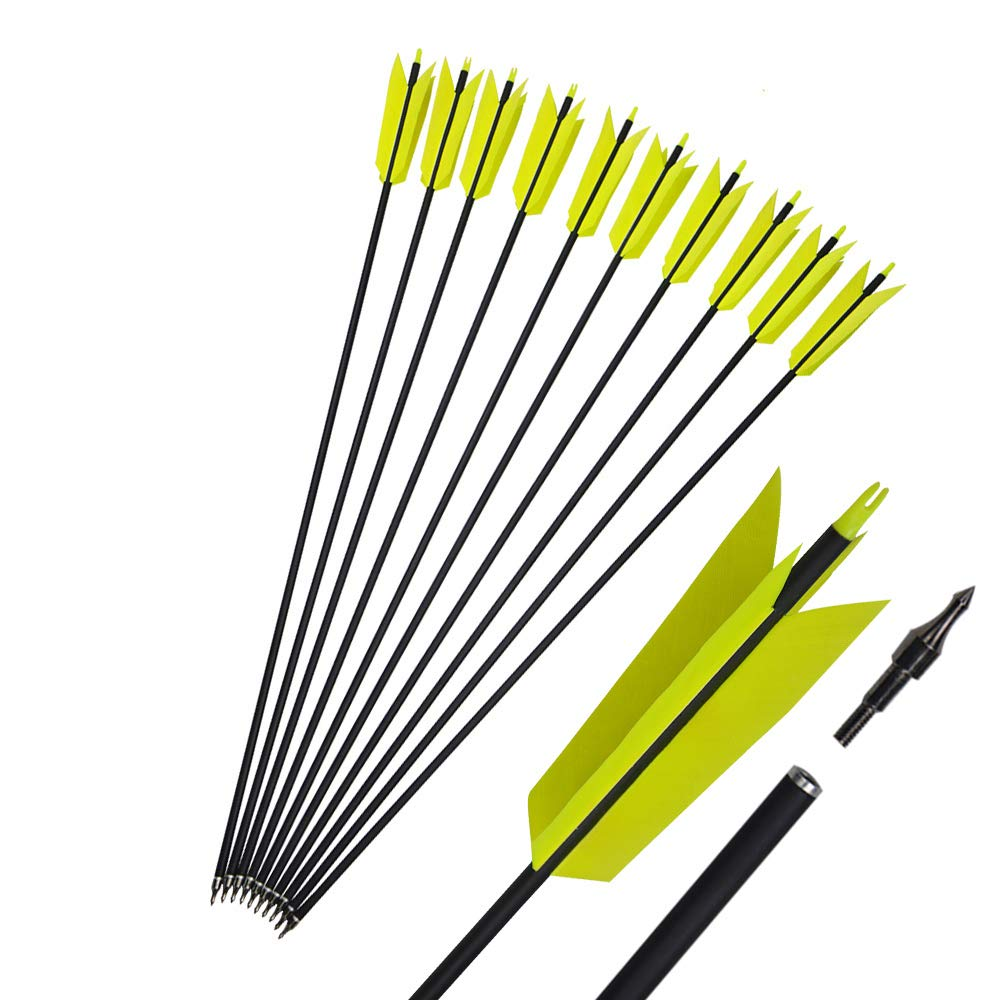 MILAEM 12 Pcs 30 Inch Archery Carbon Arrows Target Practice Flu Flu Arrows Small Game Arrows 4 Feathers Fletching with 100 Grain Judo Arrowheads for Practice Targeting (Yelllow)