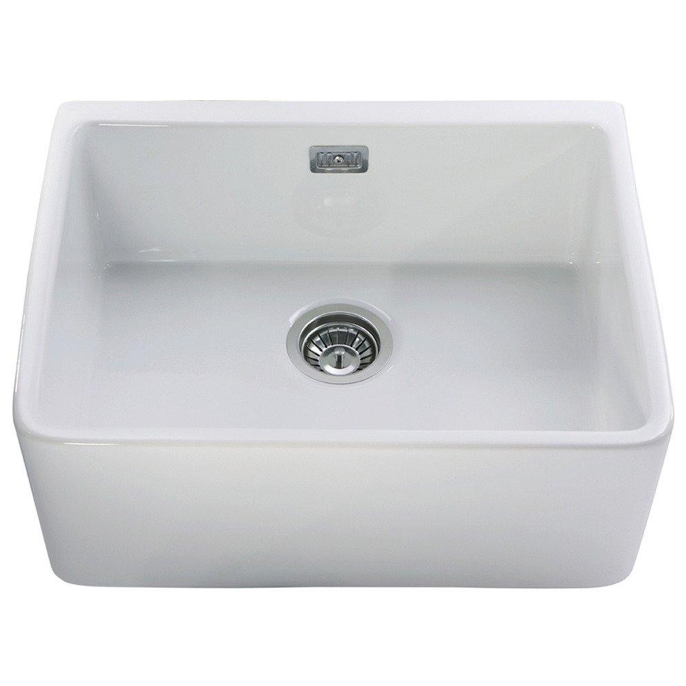 Astini Belfast 600 1.0 Bowl White Ceramic Kitchen Sink & Waste
