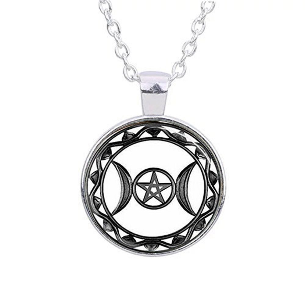 pewter raven necklace pentacle moon large triple