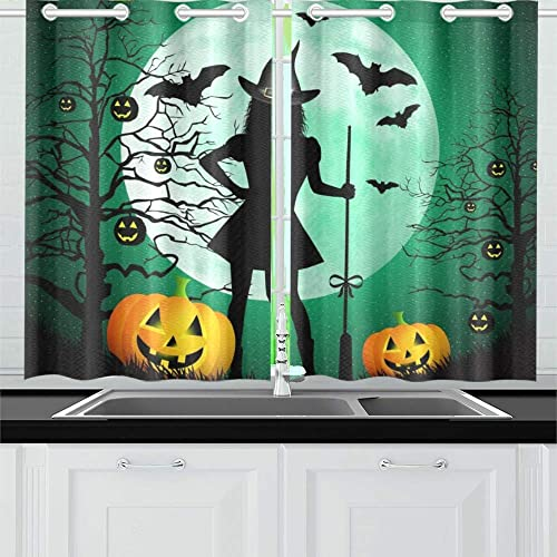 ENEVOTX Happy Halloween Kitchen Curtains Window Curtain Tiers for Caf , Bath, Laundry, Living Room Bedroom 26 X 39 Inch 2 Pieces