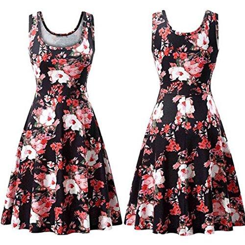 Falda Tanque Delgado De Vestido Verano O Impresión Cuello Casual Mini Vestido Vestir Boda Largo La Floral Vestido JYC Camiseta Encaje Elegante Rojo Mujer Moda Fiesta Larga A1w5qnfg