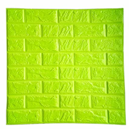 Boys Room Wall Decor 3D Foam Brick Panels Green Color POPPAP Peel And Stick