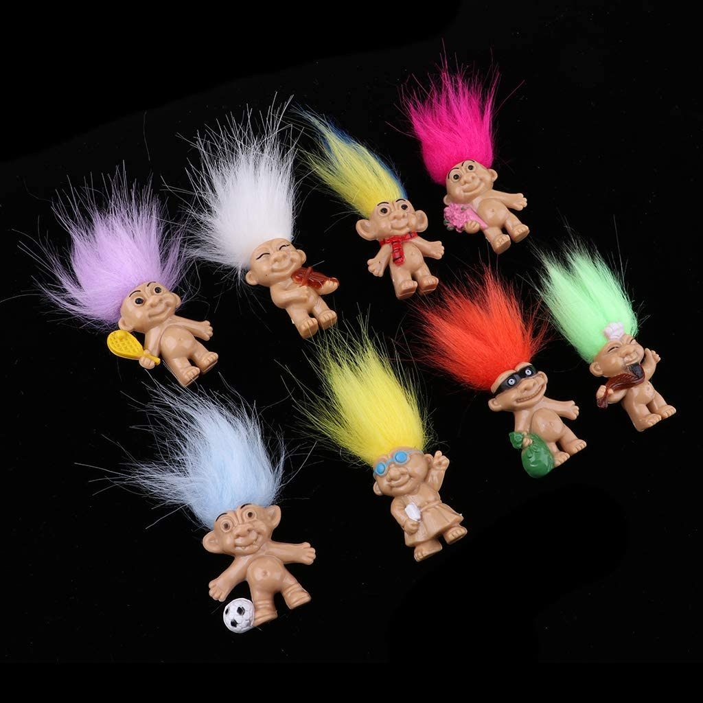 School Project Colorful Lucky Troll Dolls Bulk Leprocauns Dollhouse Miniatures Little Figures Toy Pencil Toppers Arts Crafts Set of 8 Pieces