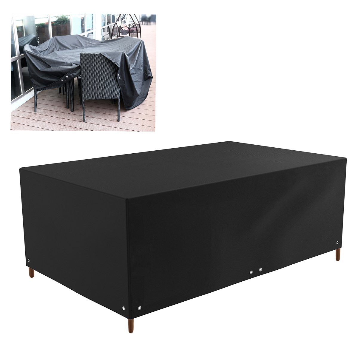 WINOMO Outdoor Patio Furniture Protector Covers Waterproof Sofa Table Chair Set Cover (Black)