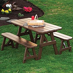 """A & L Furniture Yellow Pine Traditional Picnic Table with 2 Benches & 2"""" Umbrella Hole, 5', Redwood Stain"""