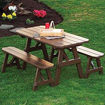 Captivating A U0026 L Furniture Yellow Pine Traditional Picnic Table With 2 Benches U0026  2u0026quot; Umbrella